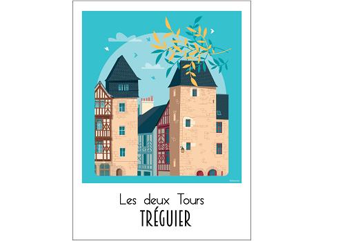 42 - Carte postale TREGUIER les 2 tours Raphaël Delerue